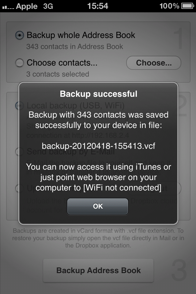 Contacts Backup to Dropbox | Mediaware